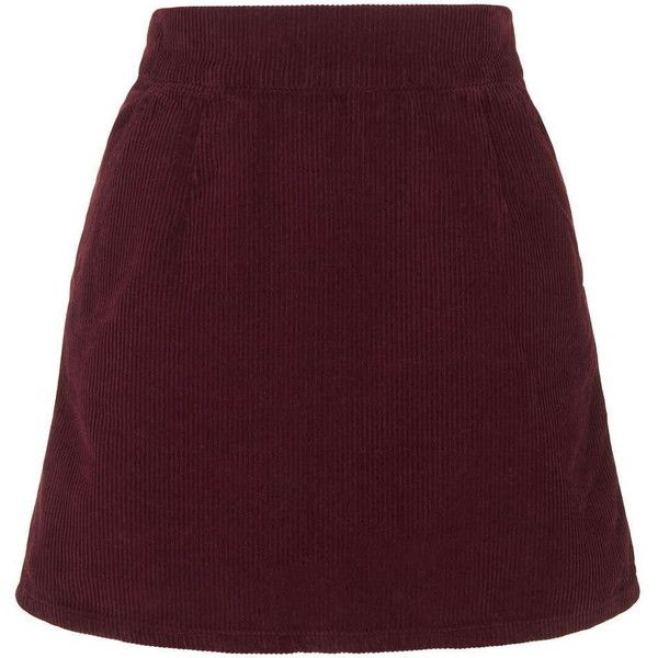 TopShop Moto Cord a-Line Skirt (941.090 VND) ❤ liked on Polyvore featuring skirts, bottoms, burgundy, cotton a line skirt, topshop, a-line skirt, cord skirt and topshop skirt