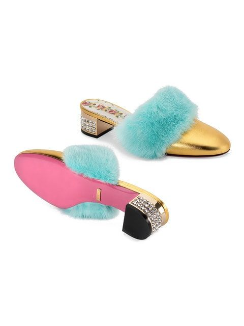 20c84015f Gucci Gold Candy Mink Leather Mules in 2019 | SHOES, SHOES, SHOES ...
