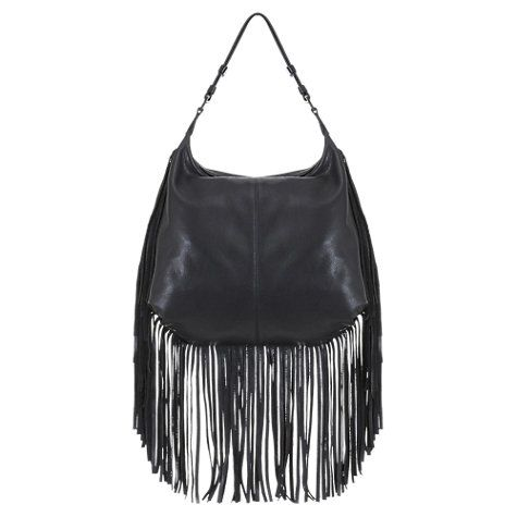 Buy Mint Velvet Tafara Leather Fringe Shoulder Bag, Black Online at johnlewis.com