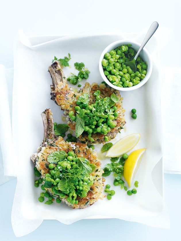 crumbed veal cutlets with minted peas. This was delicious and pretty easy.