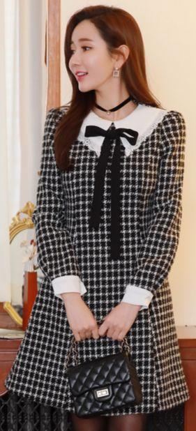 StyleOnme_Check Print Ribbon Tie Collared Dress #check #cute #ribbon #dress #koreanfashion #kstyle #kfashion #feminine #winterlook #seoul