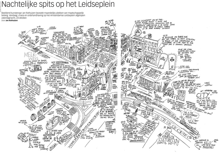 map LEIDSEPLEIN (part of centre) of Amsterdam by Jan Rothuizen