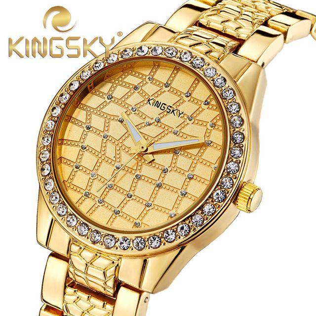 New Gold watch fashion Women and men top famous brand luxury casual relogio feminino business man and women's quartz wrist watch