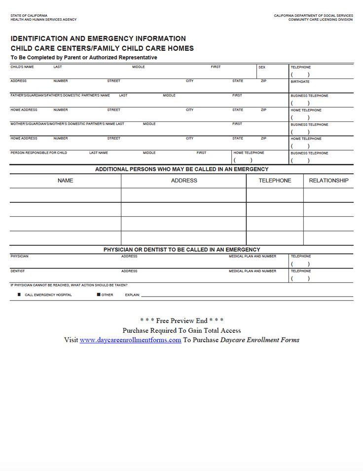 Daycare Enrollment Forms Child Care Registration Forms