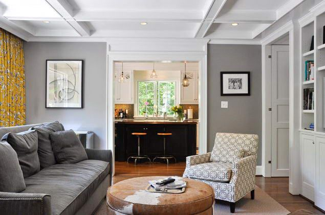 Grey family rooms room design ideas with grey wall paint - Family sitting room ideas ...