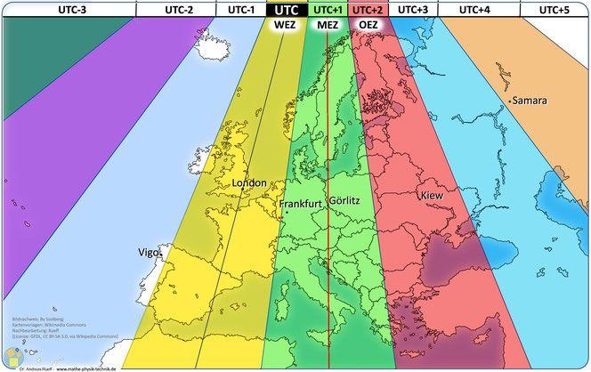 Abb Karte 2 Zeitzonen In Europa Mit Den Geographisch