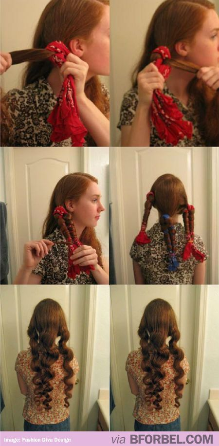 No-Heat Curls With A Cloth! Need To Try This. My grandma used to do this for me. Putting your hair in rags, she called it. I thought it was lost knowledge!!