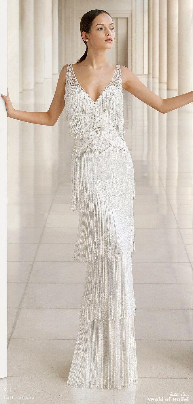 Soft By Rosa Clara 2019 Wedding Dresses World Of Bridal Wedding Dresses Beaded 1920s Wedding Dress Wedding Dress Necklines [ 1400 x 670 Pixel ]