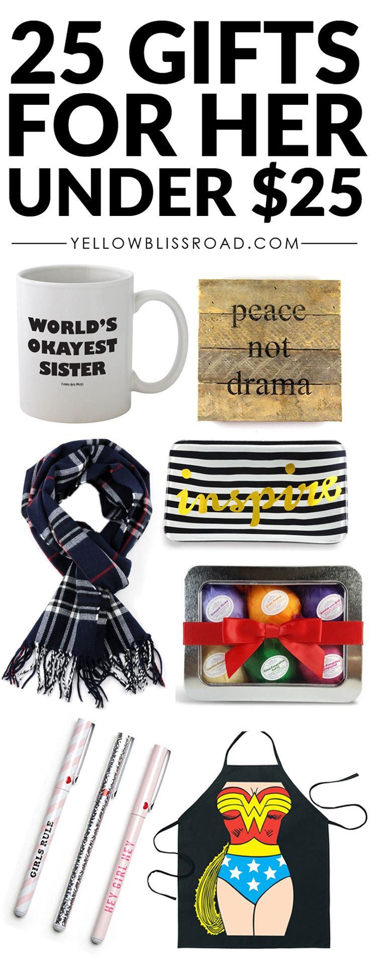 25 gifts for her under $25 | Easy Gift ideas for Mom, sister, aunts, cousins and friends.