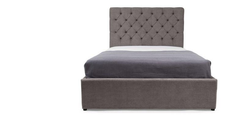 Skye, lit king-size avec rangement, gris étain