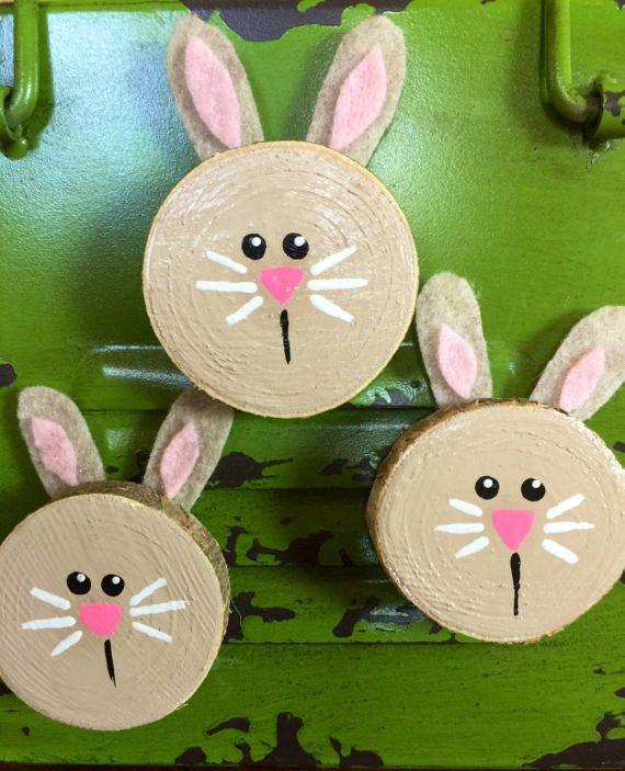 Wood Bunny Magnets Fridge magnets Spring Magnets Easter
