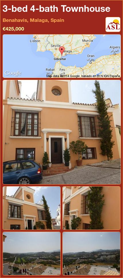 3-bed 4-bath Townhouse in Benahavis, Malaga, Spain ►€425,000 #PropertyForSaleInSpain