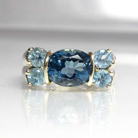 blue topaz engagement ring vintage 10k yellow gold size 7