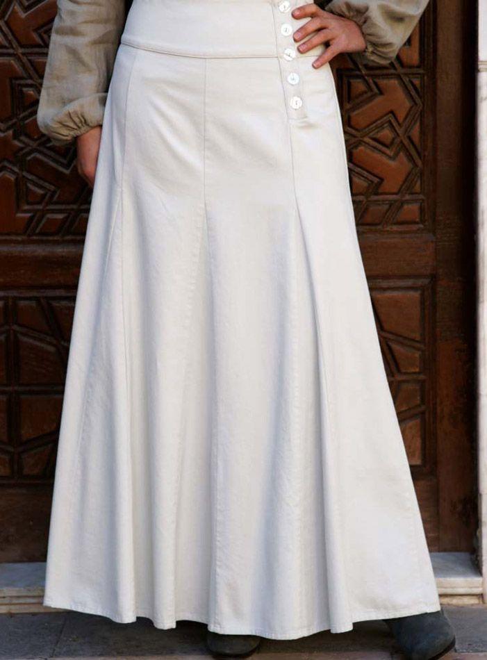 SHUKR USA | Godet Flared Skirt with Buttons