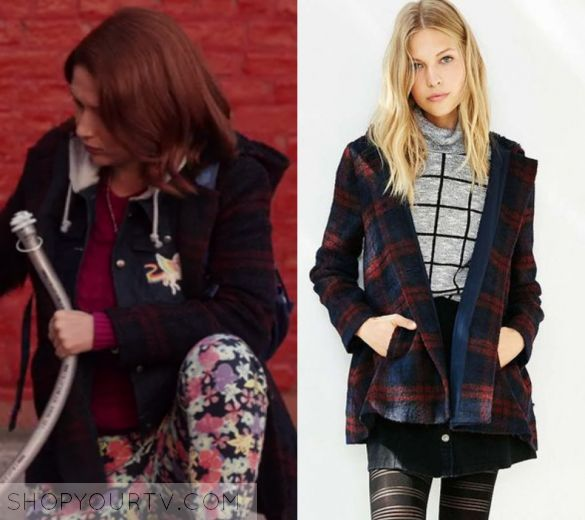 "Unbreakable Kimmy Schmidt: Season 3 Episode 4 Kimmy's Plaid Jacket | Shop Your TV Kimmy Schmidt (Ellie Kemper) wears this red and blue plaid coat in this episode of Unbreakable Kimmy Schmidt, ""Kimmy Goes To College!"".  It is the BB Dakota Kellen Plaid Sherpa-Hood Jacket"