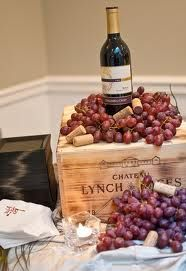 I like the grapes around the wine bottle, cute for decorating a corner of the gift table?