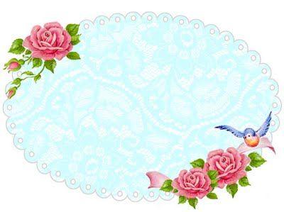 ♥Freebie Image: Shabby Blue Rose frame ♥