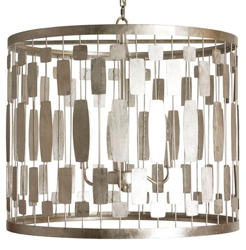 Riviera Hollywood Regency Silver Leaf 3 Light Chandelier | Kathy Kuo Home