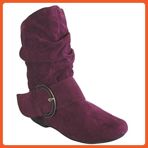 Neo 110 by Qupid New Plum Purple Velvet Buckled Slouch Womens Ankle Boots Size 6 - Boots for women (*Amazon Partner-Link)