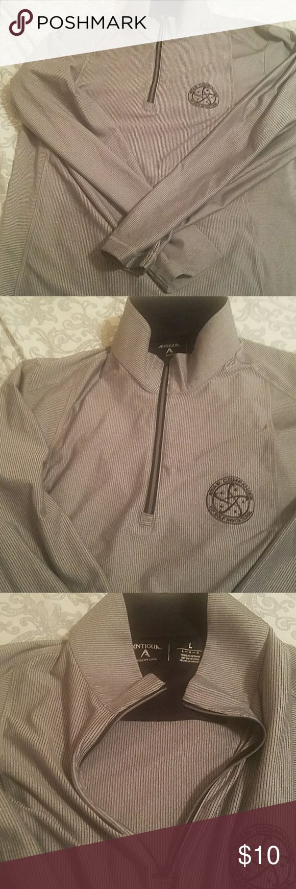"GOLF SHIRT LIKE NEW Men's Gold Shirt, Antigua brand, size L, half zip, logo states ""Star Companies VIP International"", excellent condition, accepting all reasonable offers, bundle for discounts Antiqua Shirts Polos"