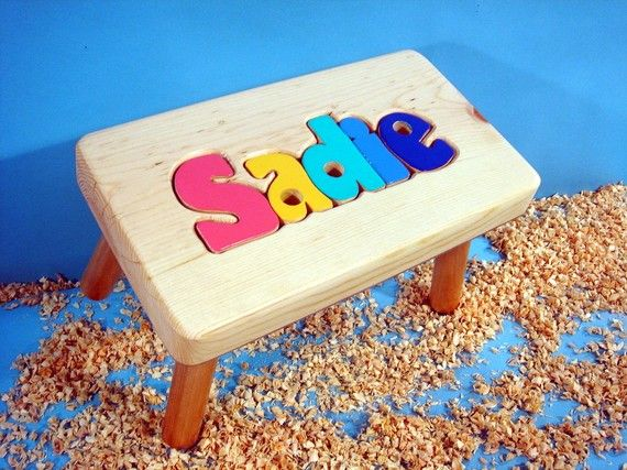 Personalized Wooden Puzzle Step Stool By Cubbyholetoys On
