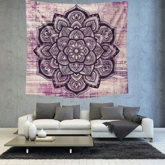 Purple Mandala Wall tapestry wall hanging by Christinedecorshop