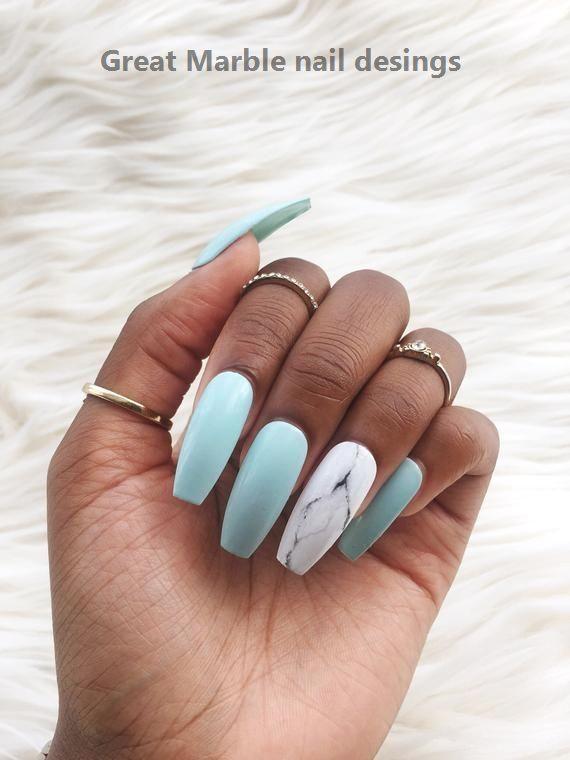 25 Marble Nail Design With Water Nail Polish 1 Nailart Marble In 2020 Glue On Nails Stick On Nails Fake Nails