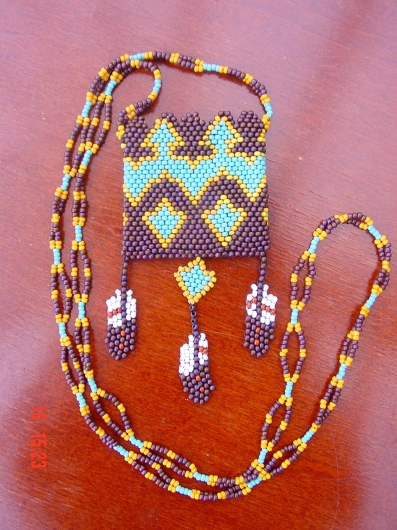 Beaded Amulet Bag with Beaded Feathers by Handyann on Etsy, $55.00 purple turquoise