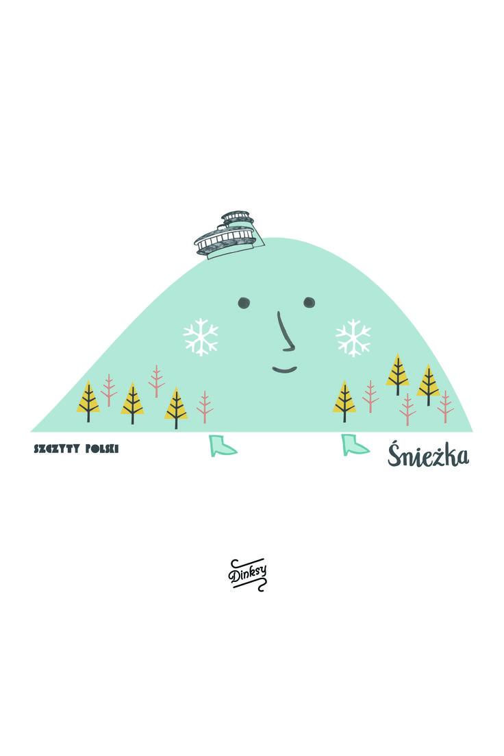 """Ilustracje """"Szczyty Polski"""". Zaprojektowane przez Dinksy dla Fifi Studio."""