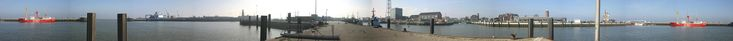 Cuxhaven, Germany, major 20th Century transatlantic Port - and portal of European immigrants to North America.. this is an incredible 360 degree panorama (one of several ... more can be seen http://www.cuxhaven-fotos.de/cuxhaven/glameyerstack.htm) Lightship Elbe 1, Steubenhöft, ESC, On the Pier, Lighthouse, Radar Tower, Old Love (circa 2007)