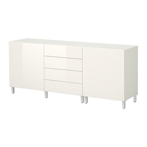 BESTÅ Storage combination w doors/drawers - white/high gloss white - IKEA
