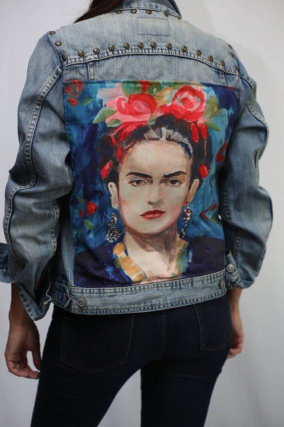 Upcycled Frida Kahlo Denim Jacket/ Patched Rivet Steampunk