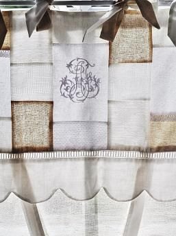 pojagi curtain using old linens with some embroidered fragments