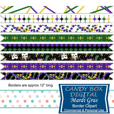 Mardi Gras Border Clipart by Candy Box Digital. Jester masks, beads, fleur de lis.  Great ribbon borders for blogs, websites, digital scrapbooks and journals, etc.