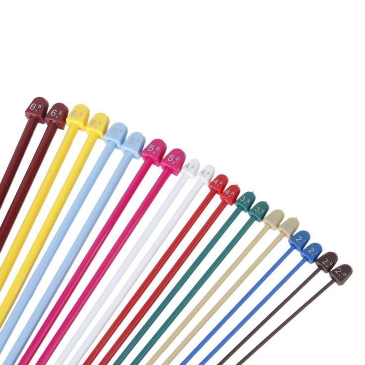 New 20pcs/Set Plastic Single Pointed Knitting Needles 10 Size 37 cm Multicolor