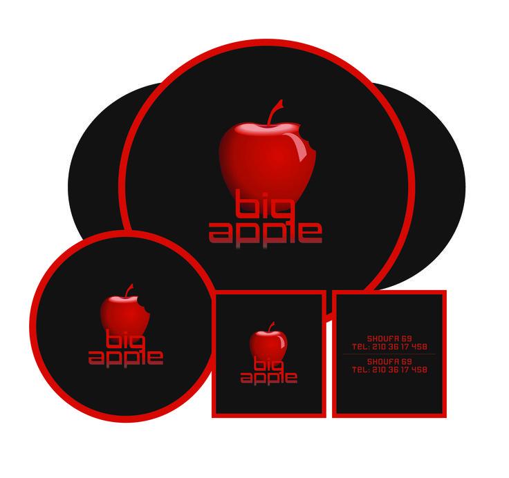 "by Argiro Stavrakou, year 2004, ""Big Apple"" bar - restaurant logo, B. cards, coasters & placemats."