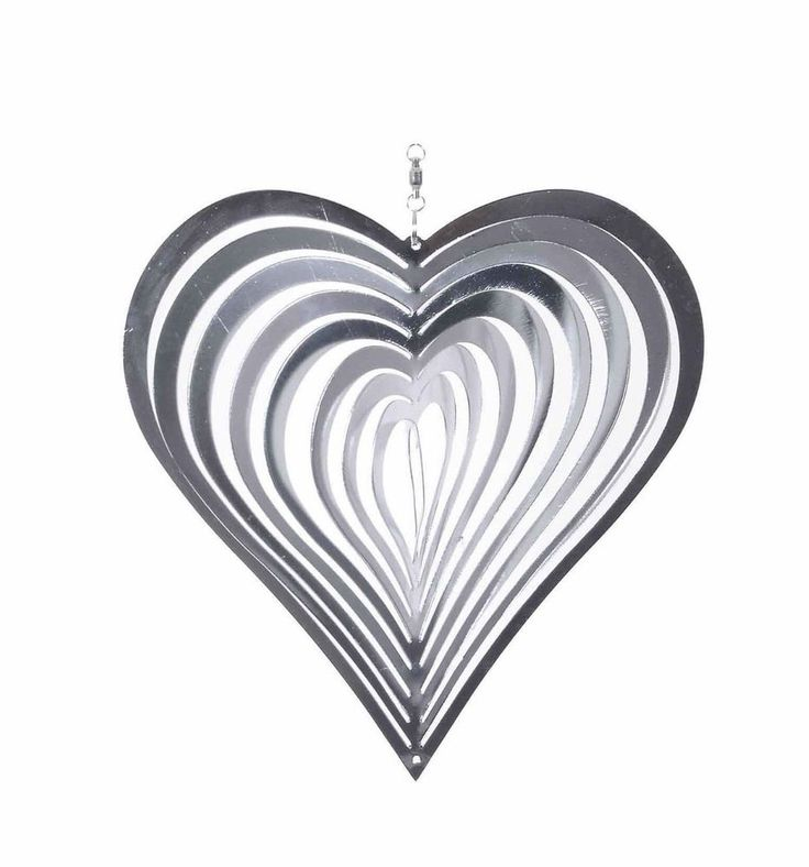 Hanging Garden Metal Wind Spinner SunCatcher Heart Shaped Steel Windspinner 20cm #Gardens2you