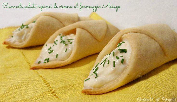 cannoli salati ripieni di crema al formaggio asiago ricetta finger food vegetariano
