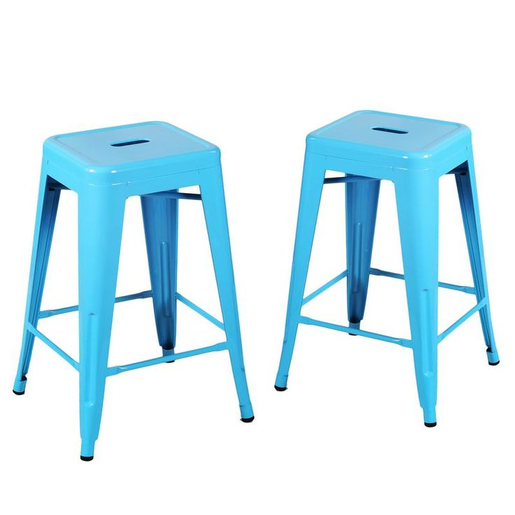 Joveco 24 Inches Sheet Metal Frame Tolix Style Bar Stool - Set of 2 (24 inches Light Blue)