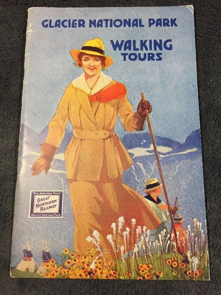 Glacier National Park, 1920's Walking Tours, Great Northern Railroad, Brochure
