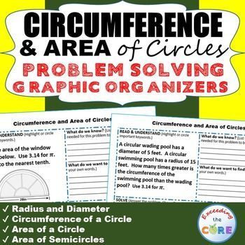 CIRCUMFERENCE and AREA of CIRCLES WORD PROBLEMS with Graphic Organizer   Problems solving graphic organizers help students organize and clarify their thoughts, infer solutions to problems, and communicate their thinking strategies. Topics included: ✔ Radius and Diameter ✔ Circumference of a Circle ✔ Area of a Circle ✔ Area of Semicircles Common Core 7.G.4, 7.G.6