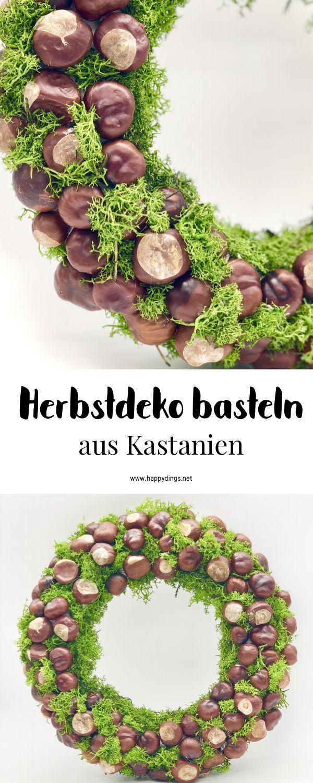Legende  Herbstdeko basteln mit Kastanien - schöner DIY Herbstkranz