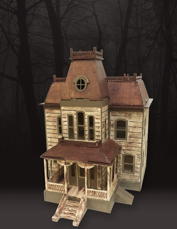 this 3d model of the bates house is made from 1/8 baltic birch plywood. can be painted or stained. this model will come DISASSEMBLED AND WILL NOT