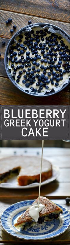 This Blueberry Greek Yogurt Cake is a perfect light airy cake that still rises even without all the necessary baking ingredients. It's healthier than most with nonfat Greek yogurt and layered with tons of fresh blueberries.