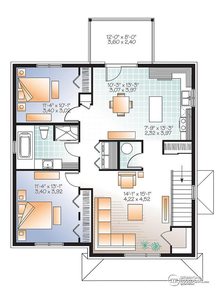8 best triplex plans images on pinterest apartment plans for Triplex floor plans