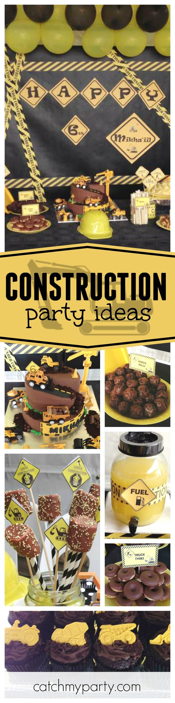 Checkout this awesome Construction inspired birthday party! Love the fun construction site birthday cake!! See more party ideas and share yours at CatchMyParty.com
