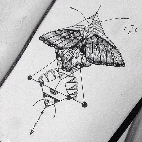 Black Moth for Girl's Chest Tattoo Design