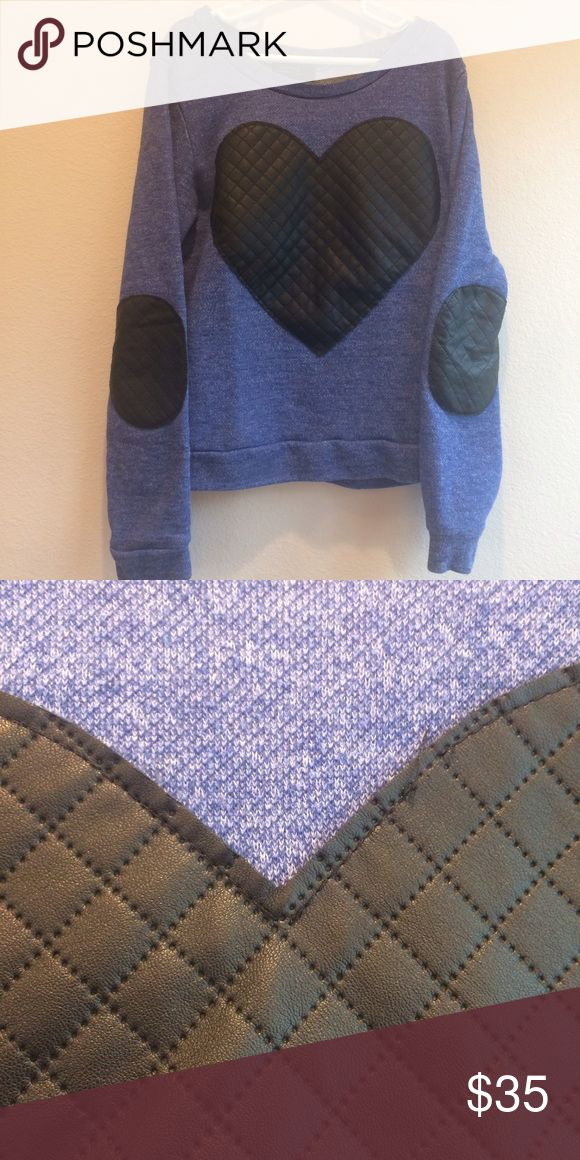 Blue elbow patch sweater Some pulling on the heart. Otherwise, in great condition. Perfect as an exercise top! Active Designed in Los Angeles Sweaters