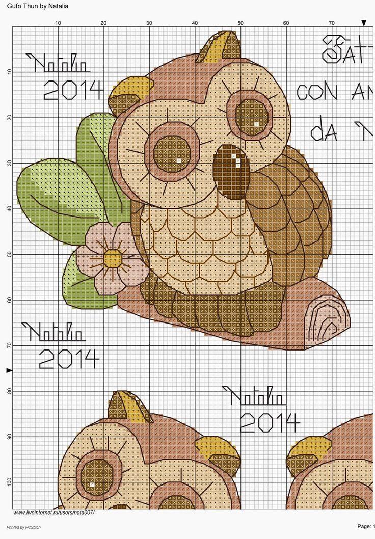 Hobby lavori femminili - ricamo - uncinetto - maglia: schema punto croce gufo thun