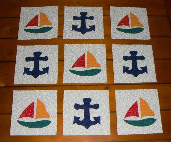 Set of 9 Sailboats with Anchors Nautical Beach by MarsyesShoppe